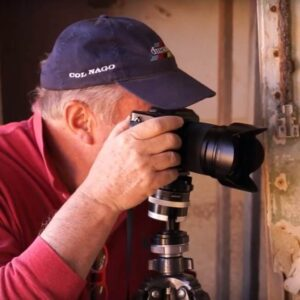 Passionate Photographer Brad Olch takes a photo during the Better Moments Namibia workshop