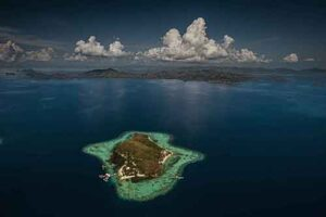 Aerial of the private island in Shark Fin Bay where the pearl farm is situated.