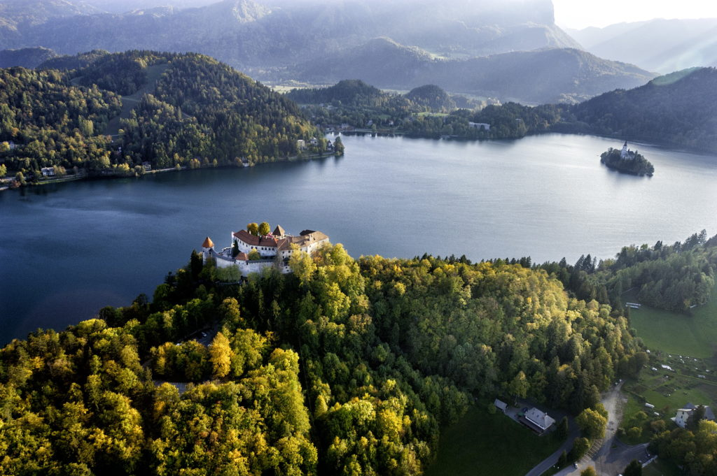 Aerial from Lake Bled, Slovenia