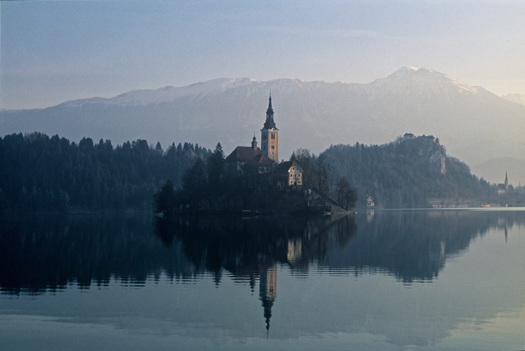 The Church of Mary the Queen in Lake Bled, Slovenia