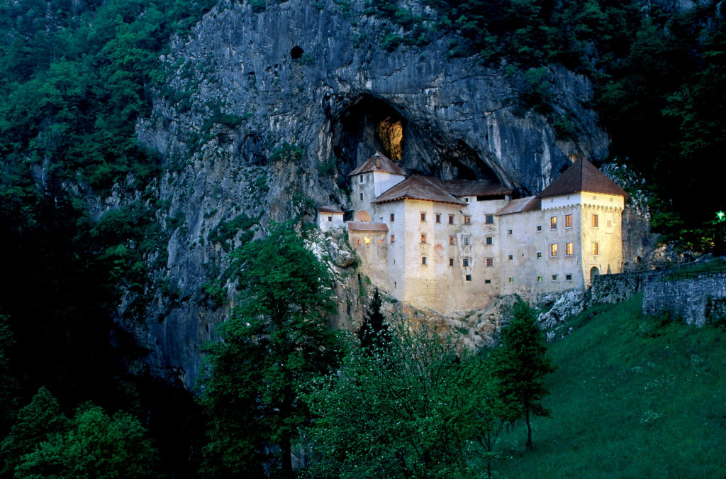 Predjama Castle nestled into the rock, slovenia