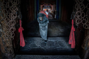 Christian Nørgaard, Christian Noergaard at a Better Moments Nepal Tibet photo workshop. A Buddhist pilgrim carry on a large sack of prayer flags. Lhasa, China.
