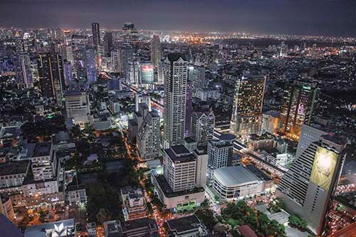 Bangkok's illuminated skyscrapers