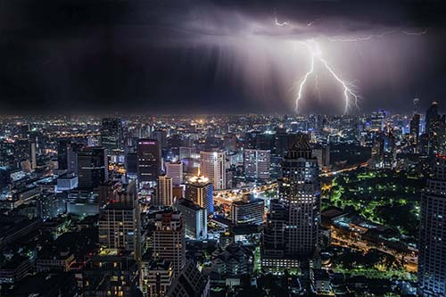 Lightning illuminates Bangkok during a thunderstorm