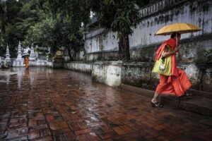 Better Moments Indochina - monk running in the rain - Luang Prabang
