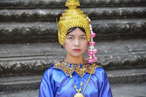 Cambodian woman in traditional dress