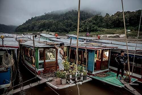 Houseboats on the Mekong river
