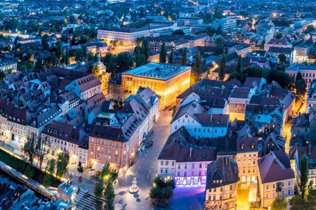 Aerial of Ljubljana by night
