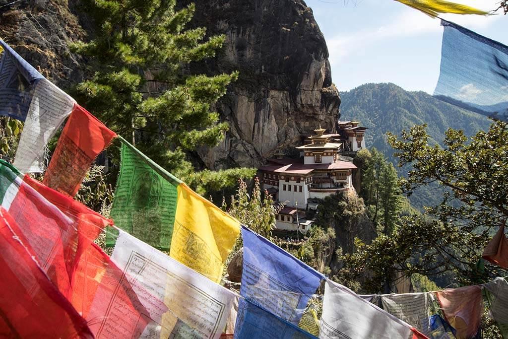 Tiger's Nest in Bhutan is build in a rock