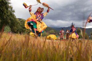 Masked dancer celebrates in Bhutan