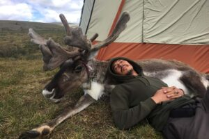 Better Moments team - Har from Mongolia with reindeer