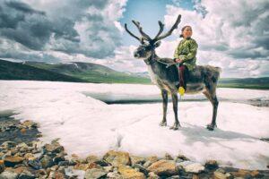 Mongolian girl on reindeer
