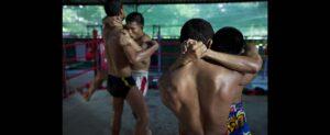 Four Thai boxers sparring