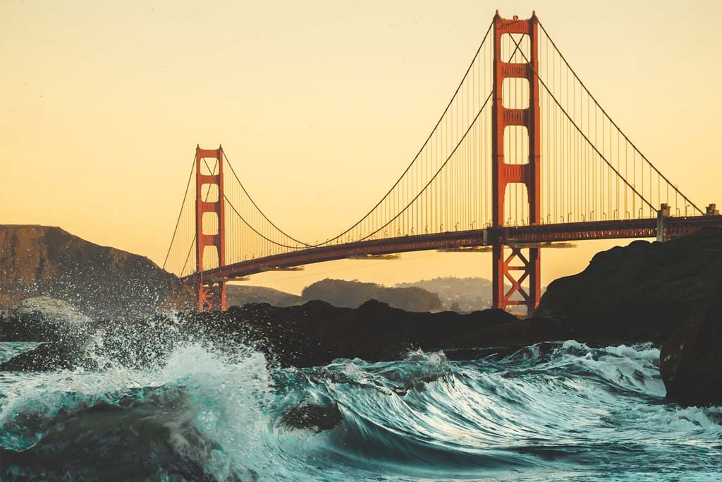 Golden Gate Bridge with rough water