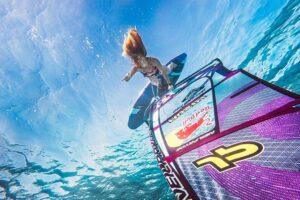 Windersurfer Raskina surfing under water, photo by Kirill Umrikhin